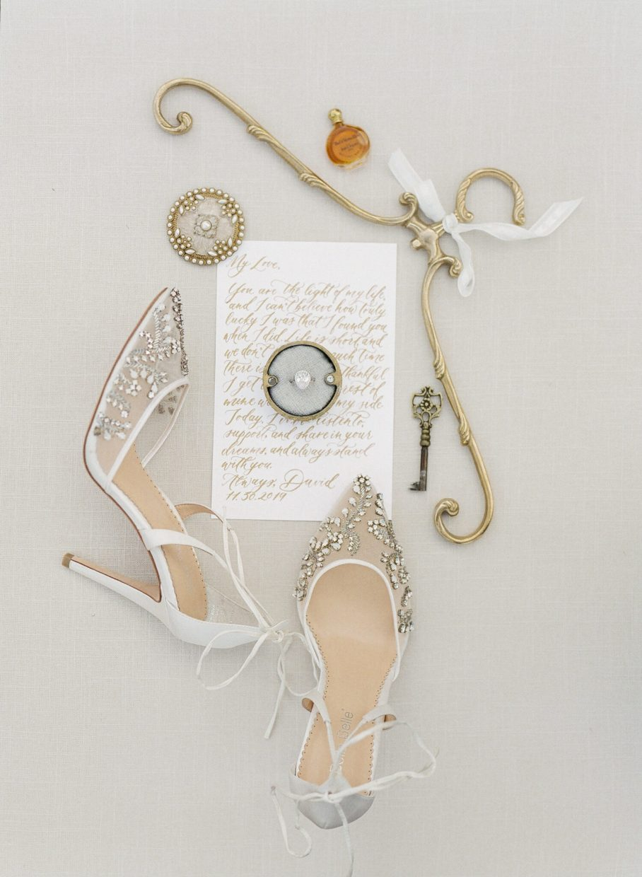 Bella Belle shoes with calligraphy wedding ring