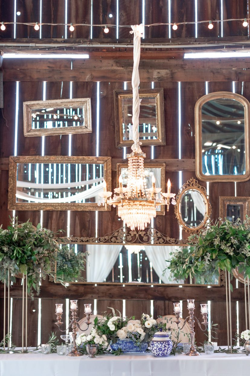 Barn wedding filled with chandeliers