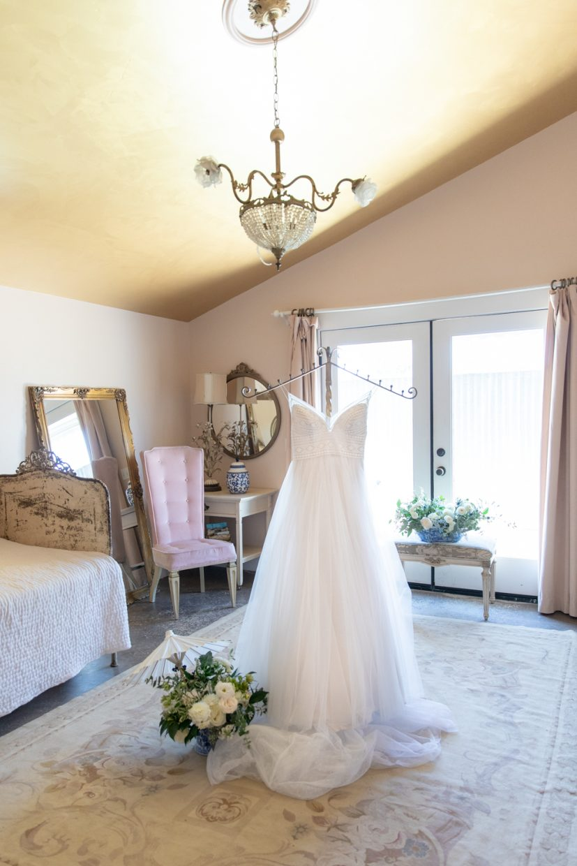 Wedding dress in vintage inspired room