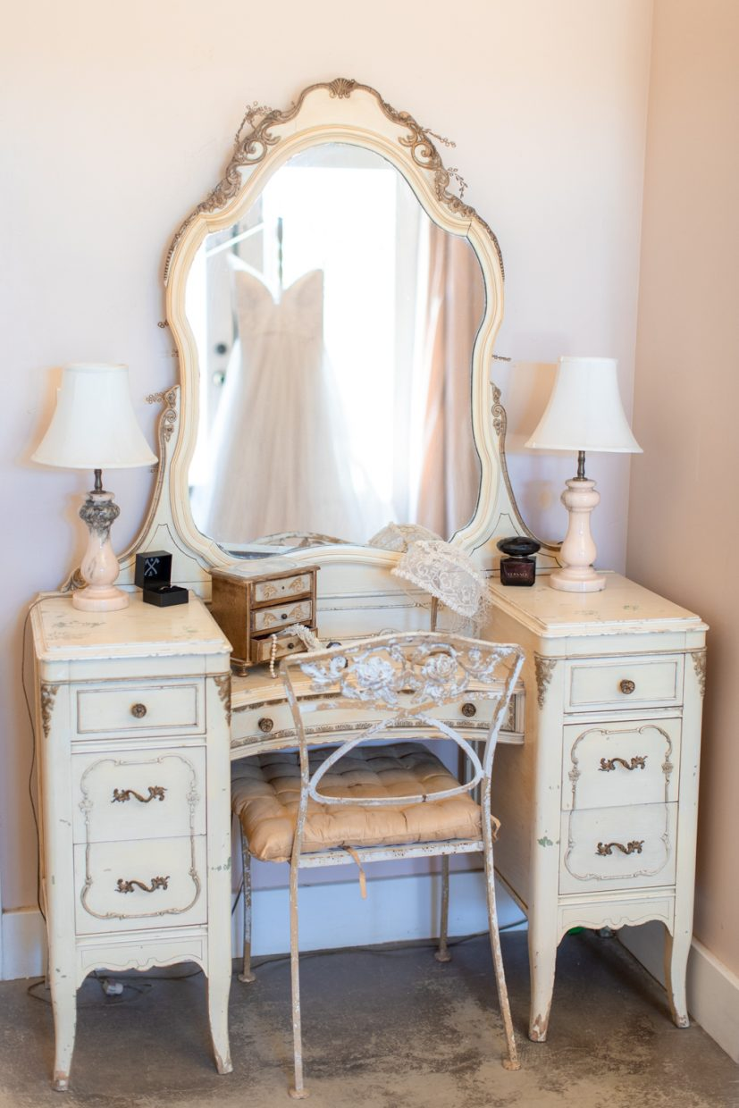 white dress in vintage old mirror