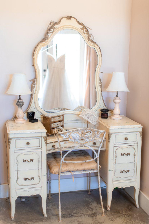 white dress in vintage old mirror