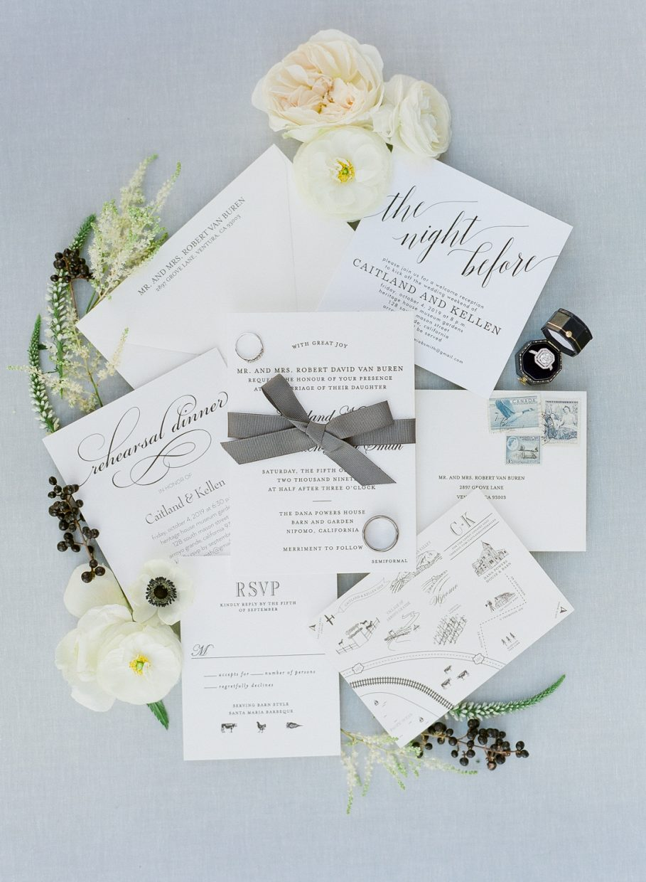 Dana Powers House and Barn wedding invitations