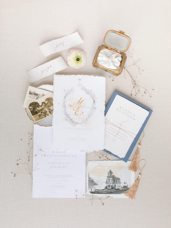 calligraphy fine art wedding invitation by Papier Handmade