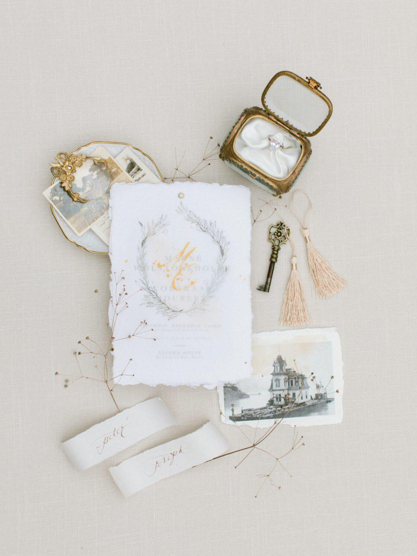 Papier handmade lay flat invites