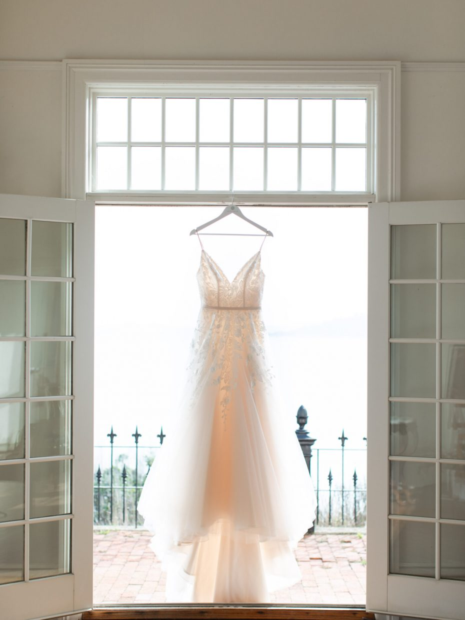 wedding dress vintage in doorway