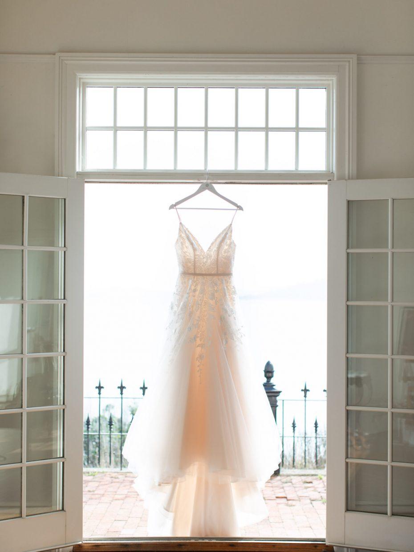 wedding dress vintage in doorway