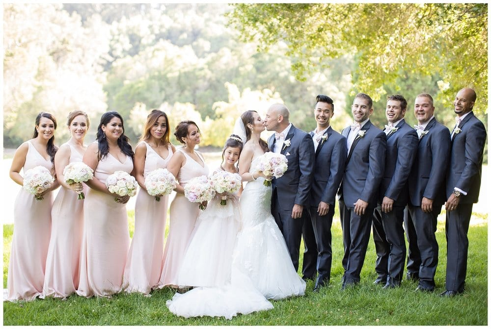 bridal party portraits outdoors in beautiful light
