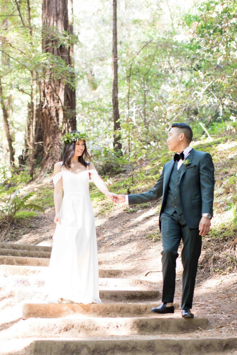 bride and groom at muir woods ceremony