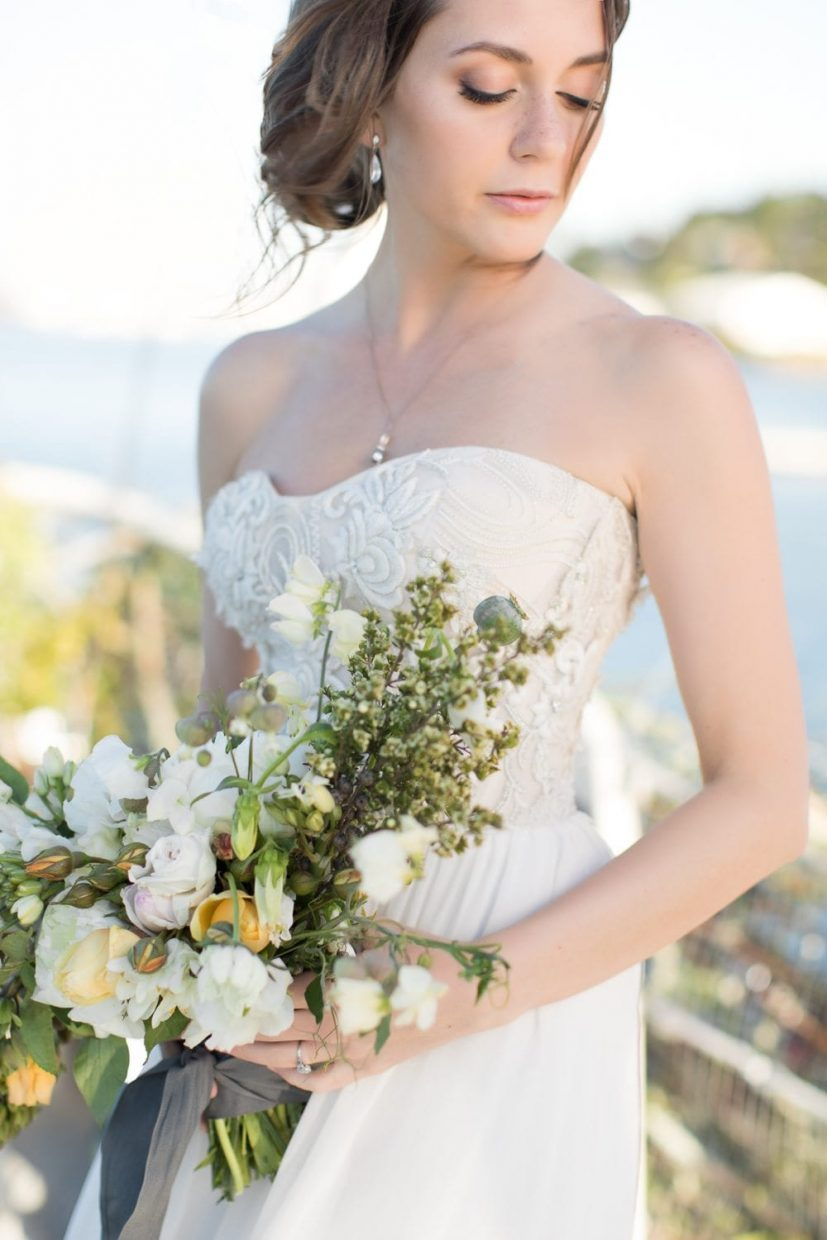 Bride holding her flowers soft
