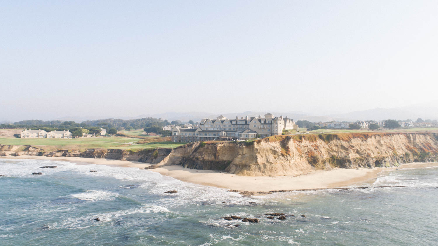 Drone photograph of Ritz Carlton Half Moon Bay