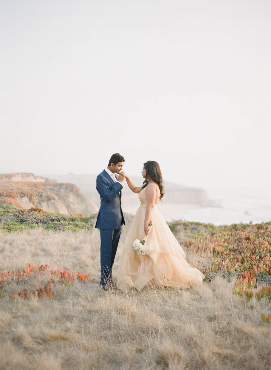 Cliffside fairytale wedding portrait