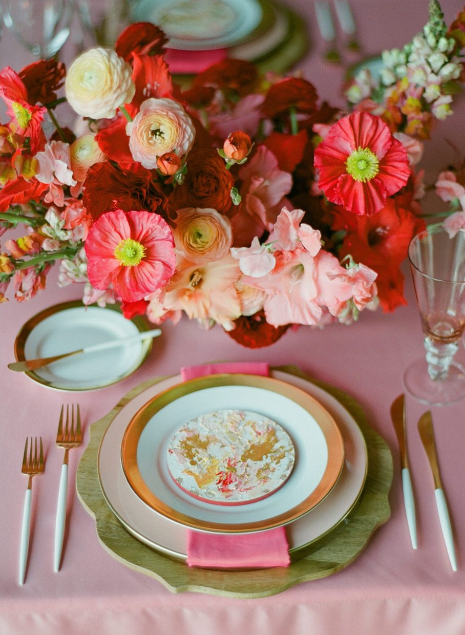 wedding red table place setting kate siegel events