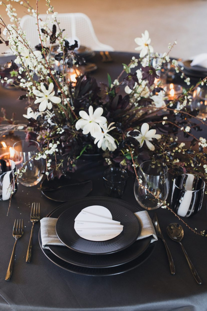 black tie affair place setting