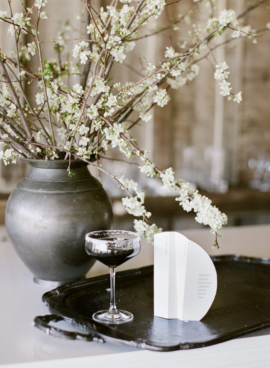 black and white tie cocktail