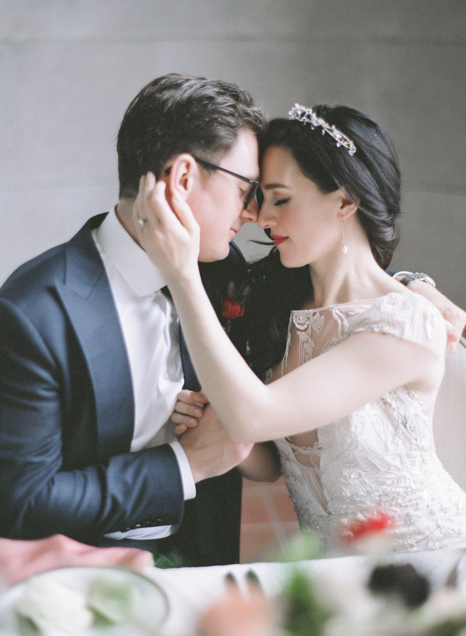Lena Hall with husband to be holding his face