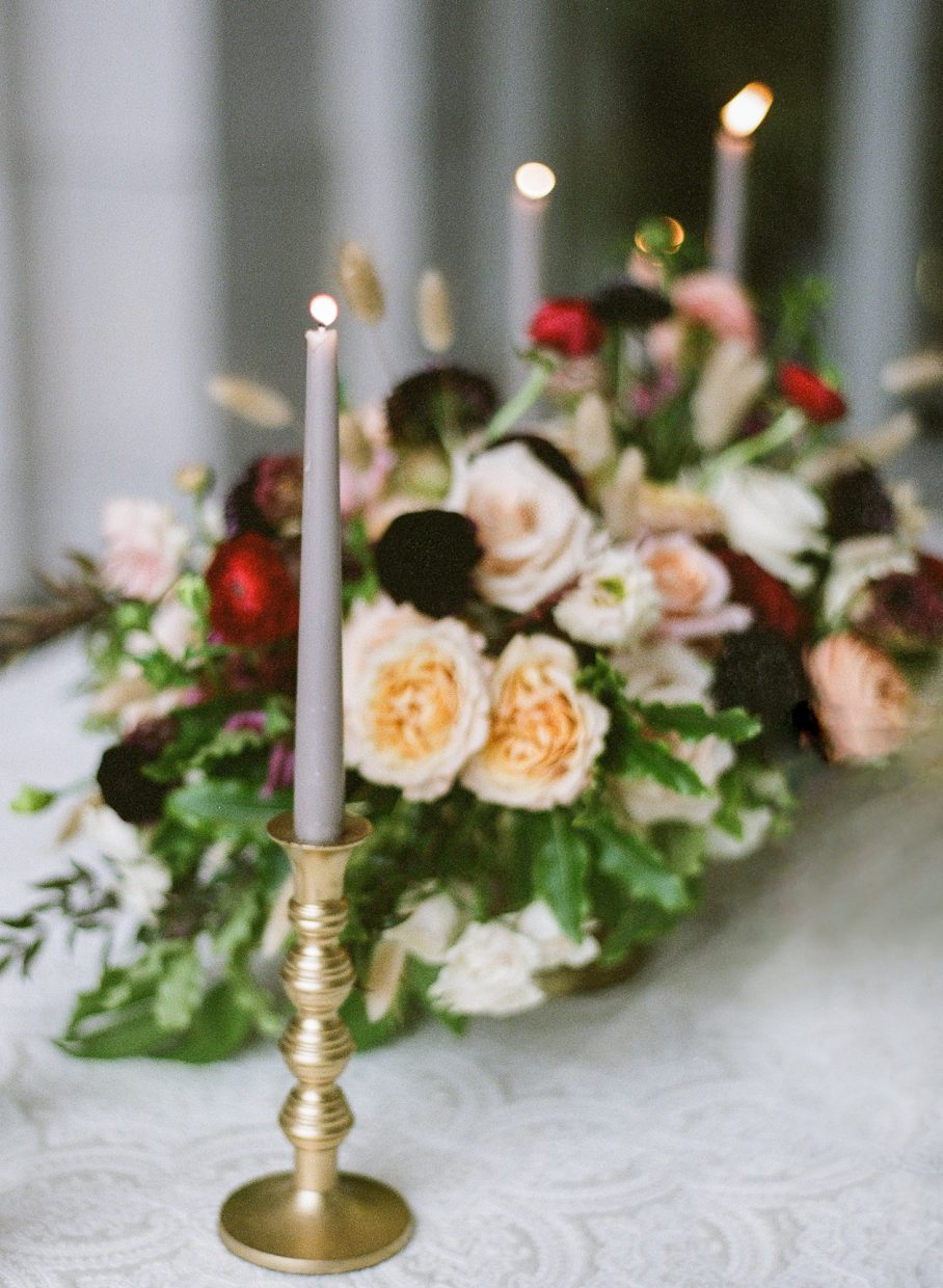 flowers with candles red and orange