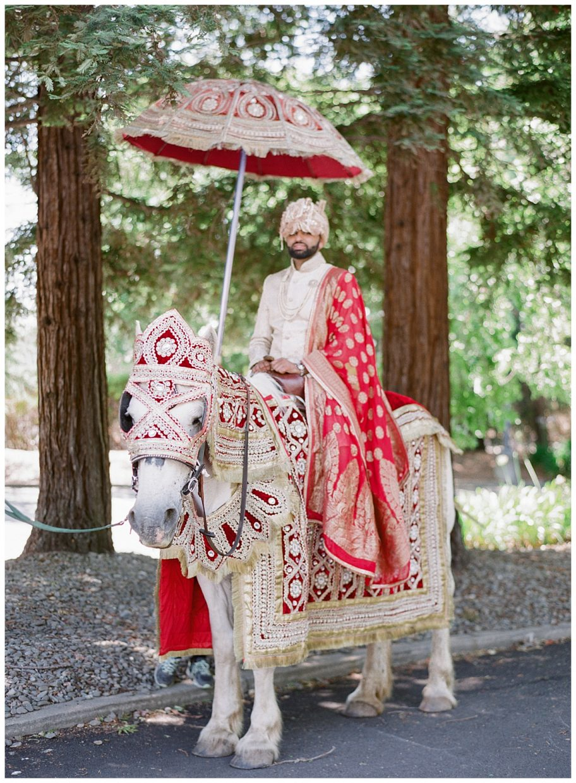 Baraat groom on a horse with umbrella