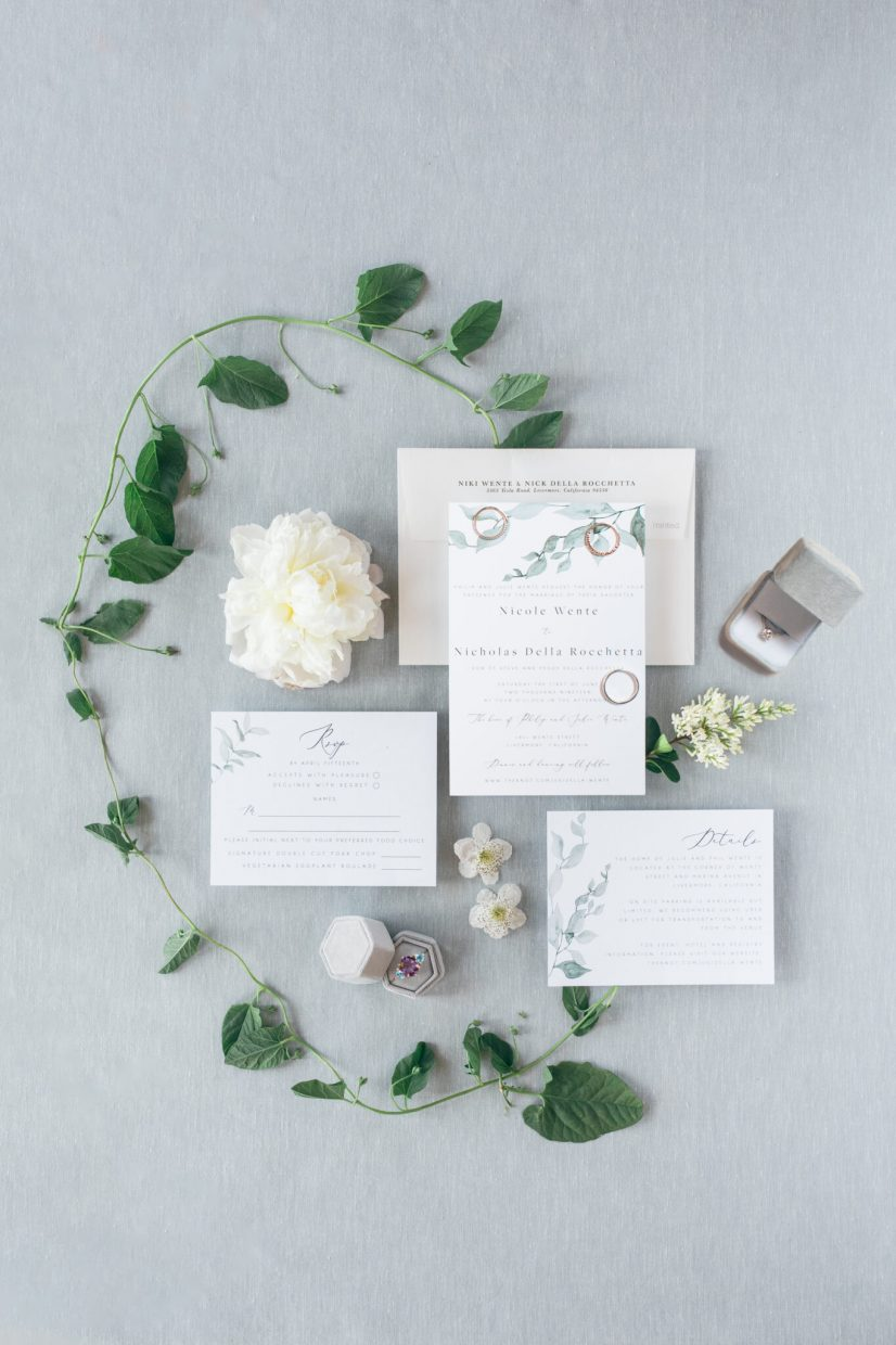 flat lay floral inspiration wedding
