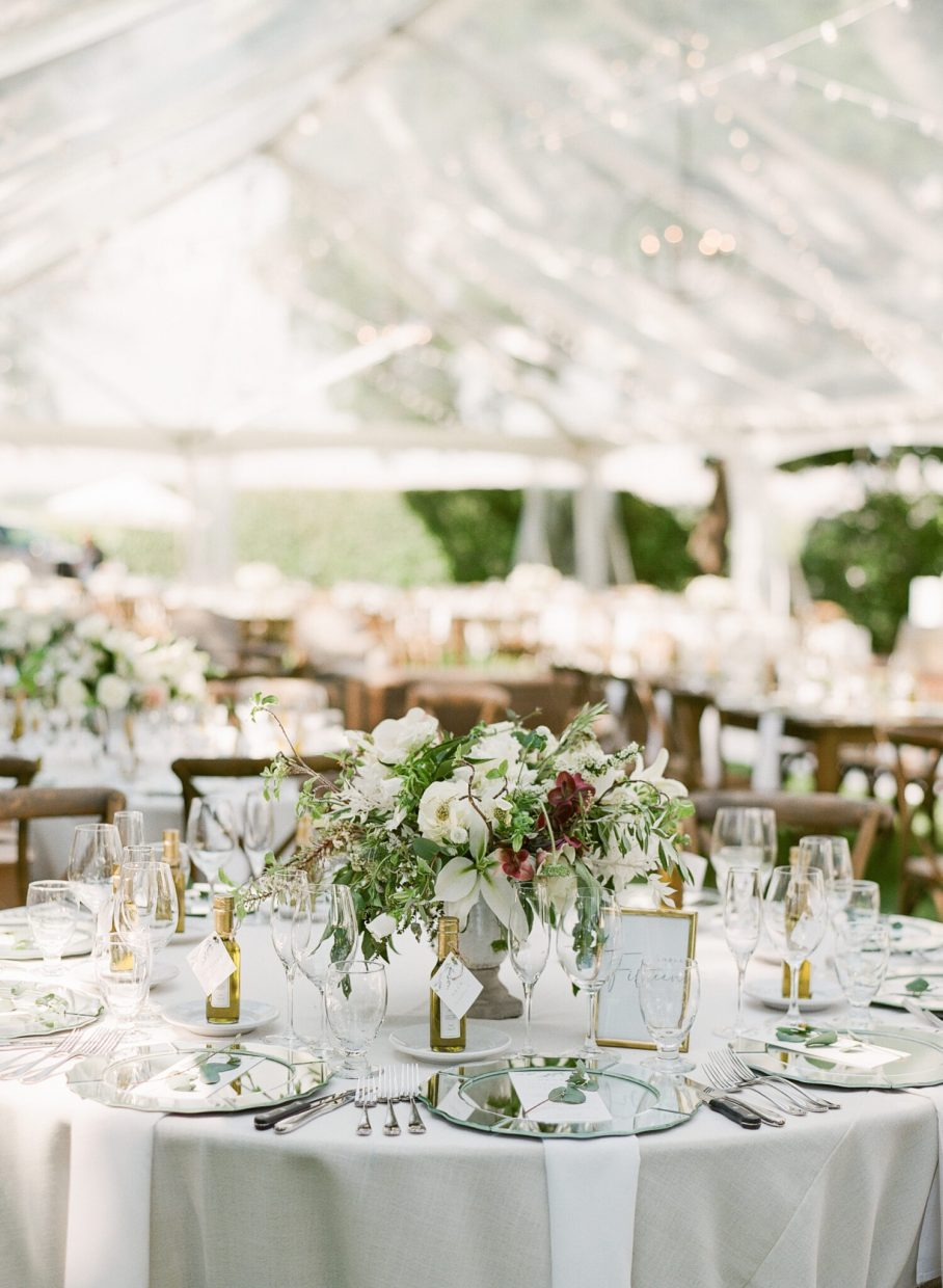 beautiful wedding reception in a tent