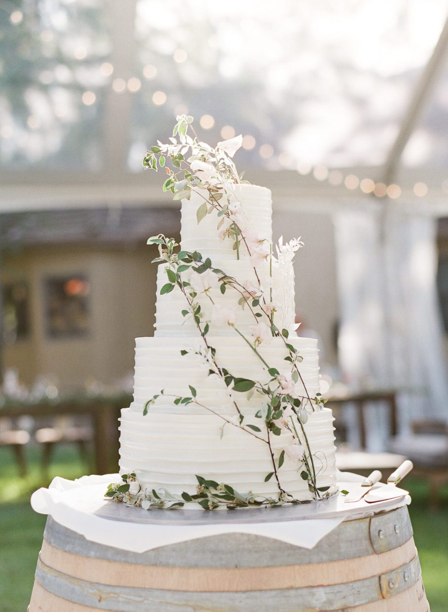 wedding cake being kissed by the light