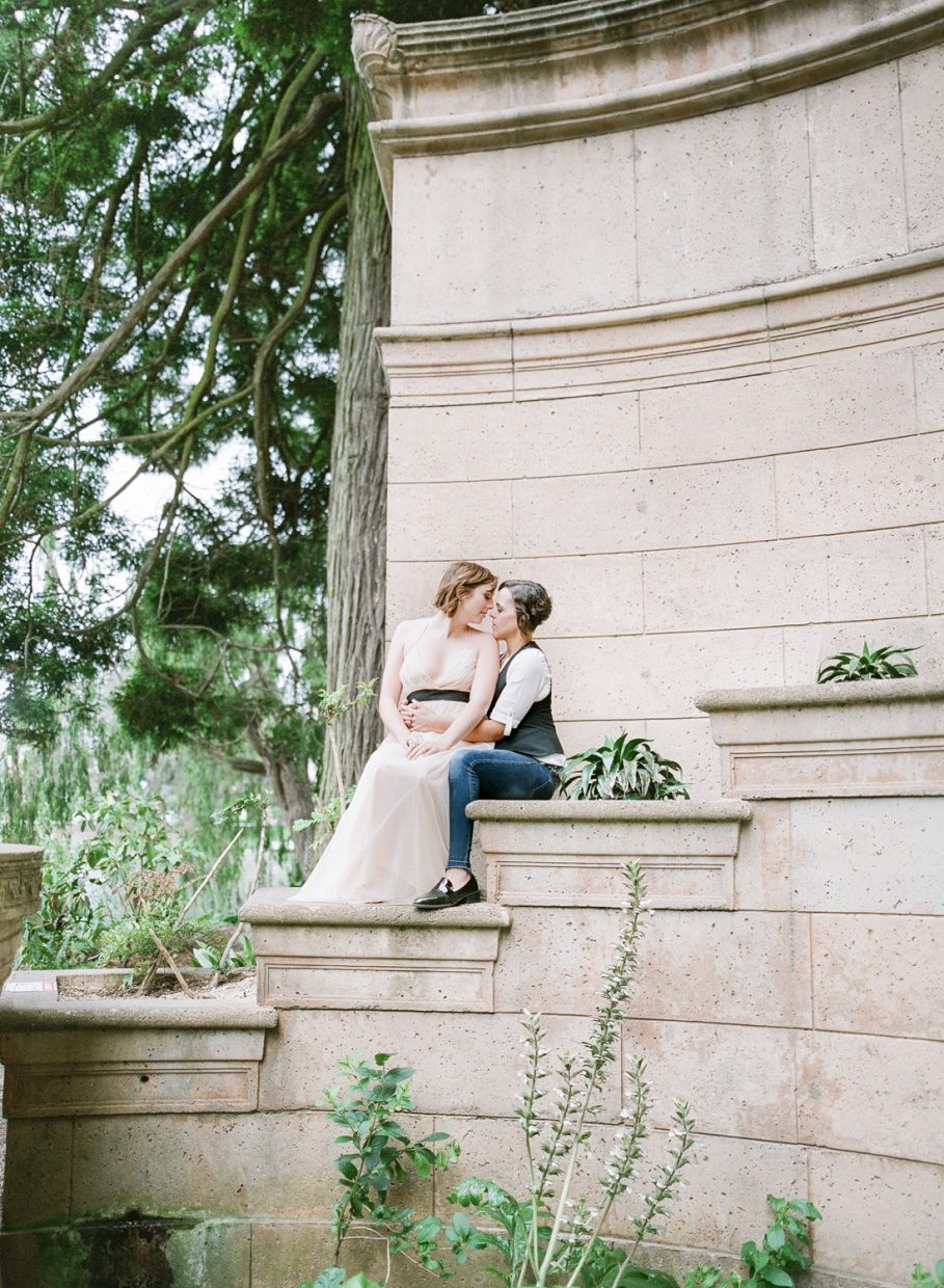 Lesbian Engagement Session at the Palace of Fine Arts in San Francisco