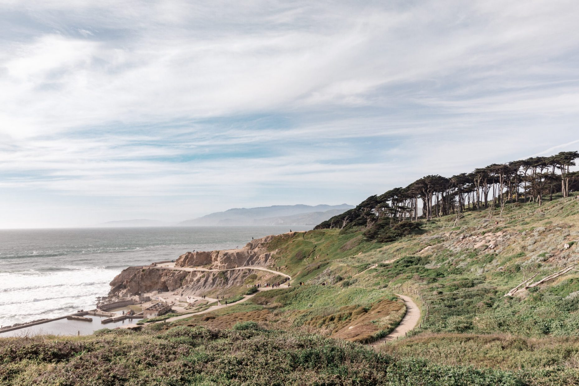Lands End cliffs by Ocean beach san Francisco