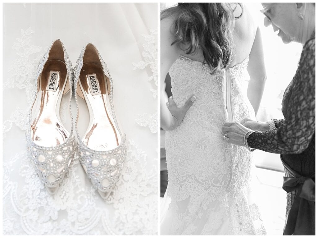 mother zipping brides dress with Badgley Mishka shoes