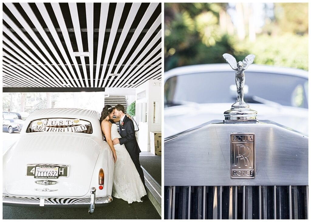 Vintage Rolls Royce car with Just Married sign