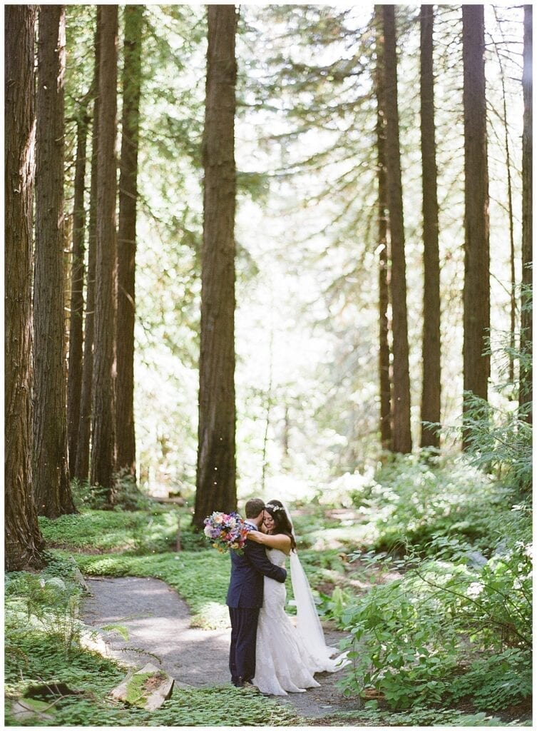 sweethearts hugging romantic forest