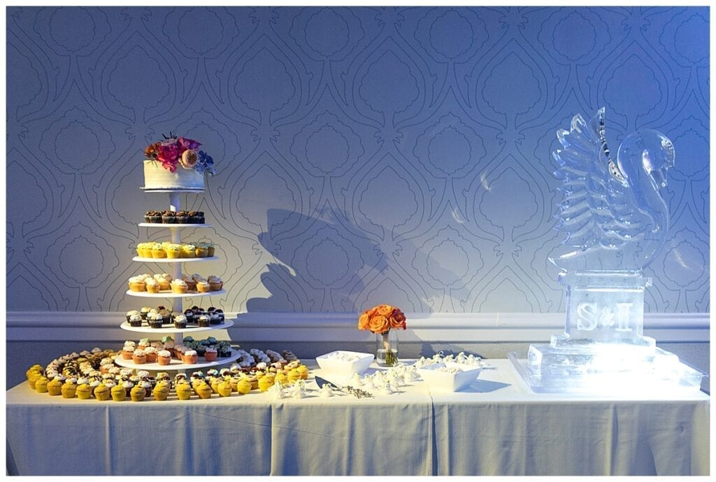 sugar tower table with swan ice