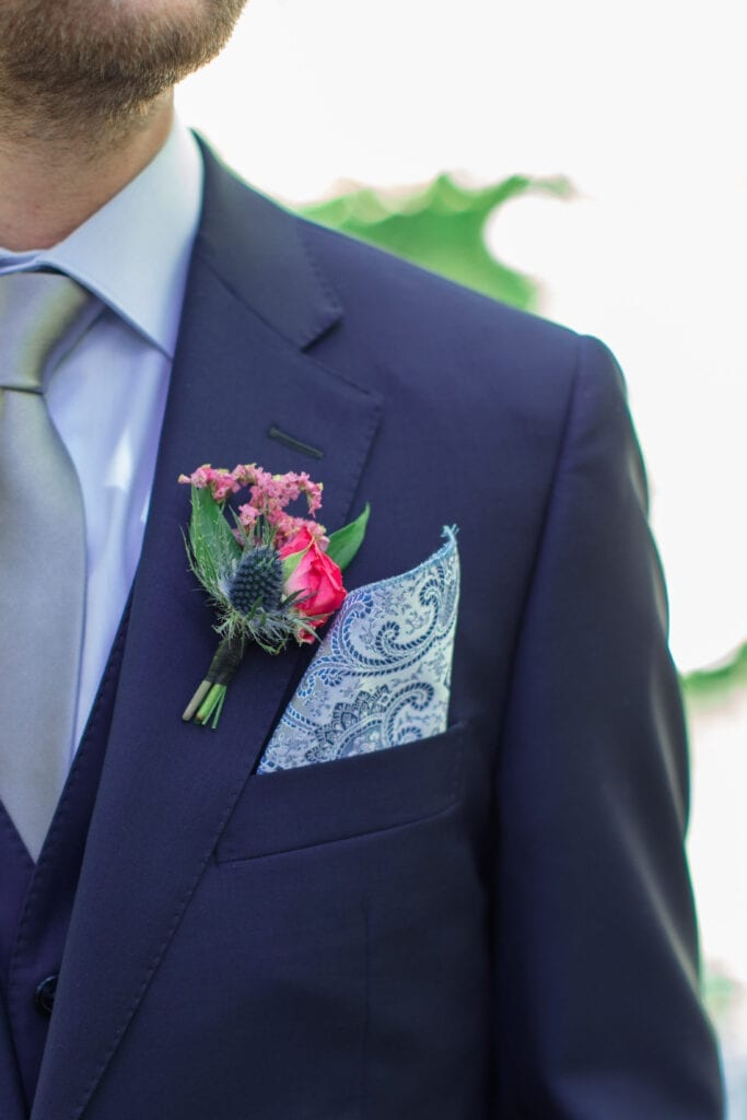 close up of a boutonniere