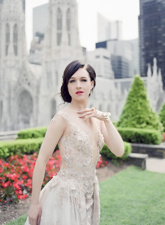 Lena Hall tony award winner with St. Patrick's Cathedral