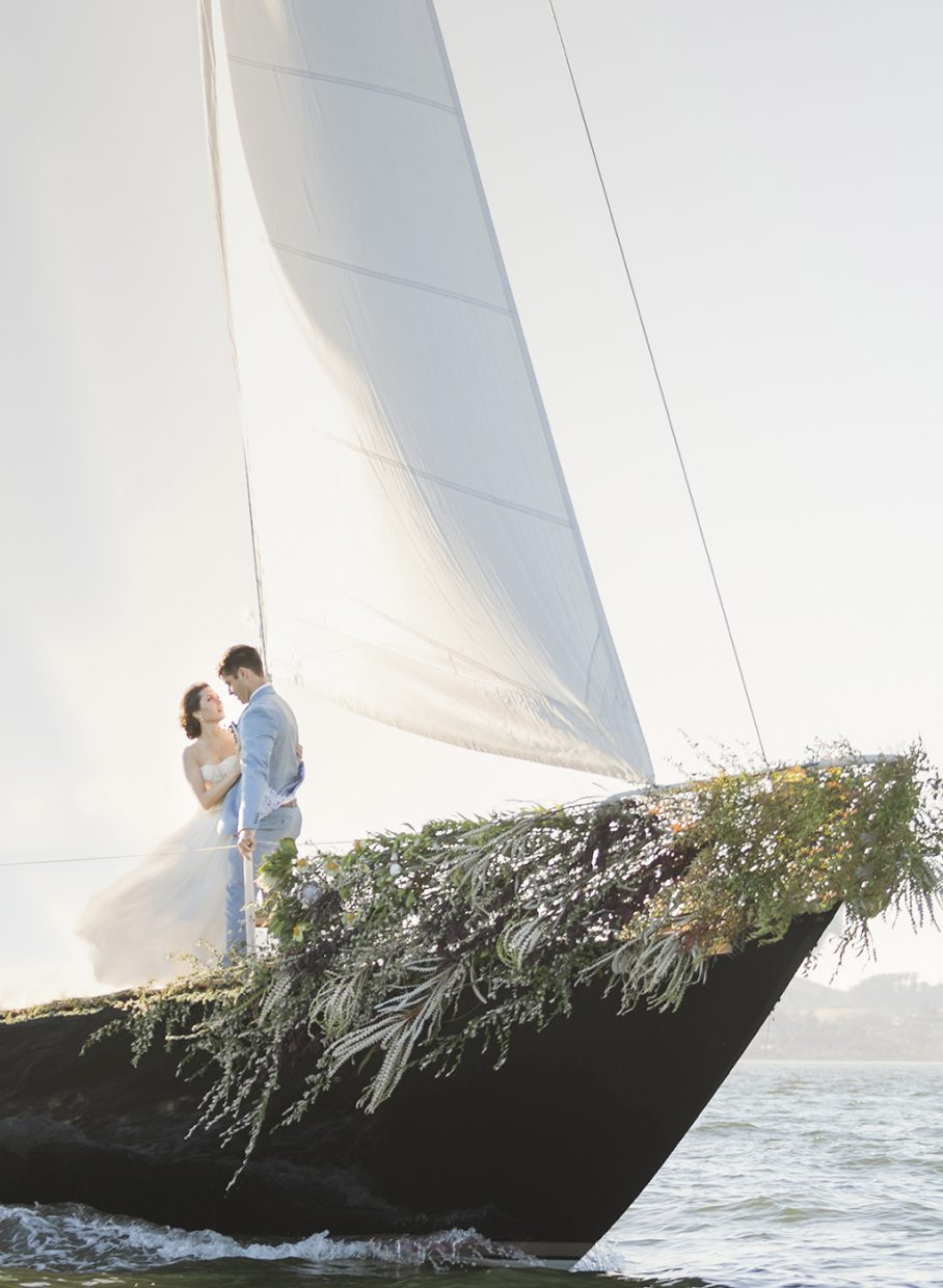 Fine Art Sailboat elopement shoot in Sausalito