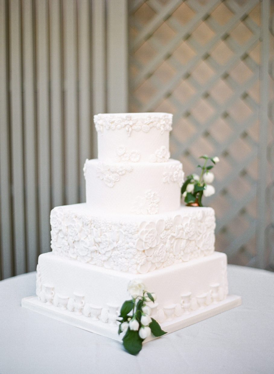 Parisian white wedding cake