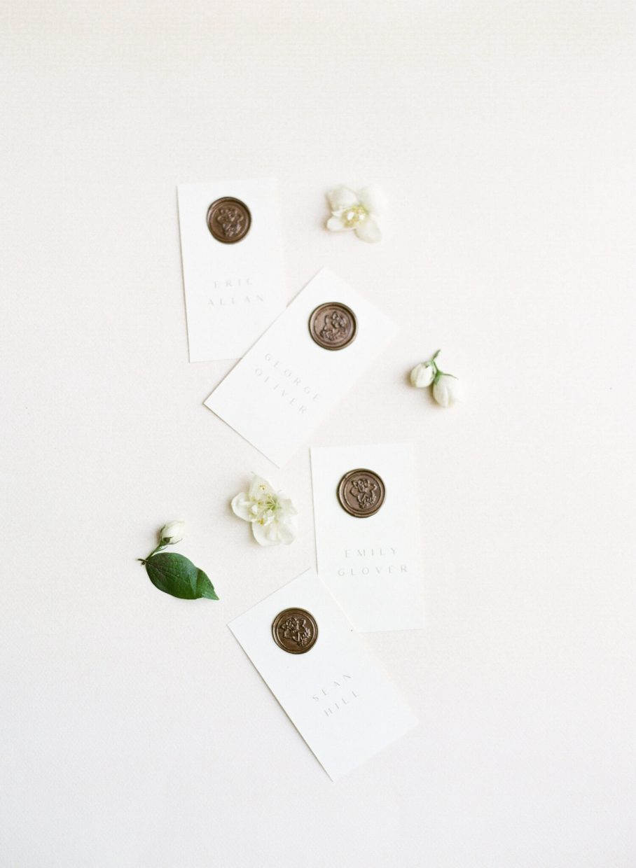 place cards for guests with wax seals