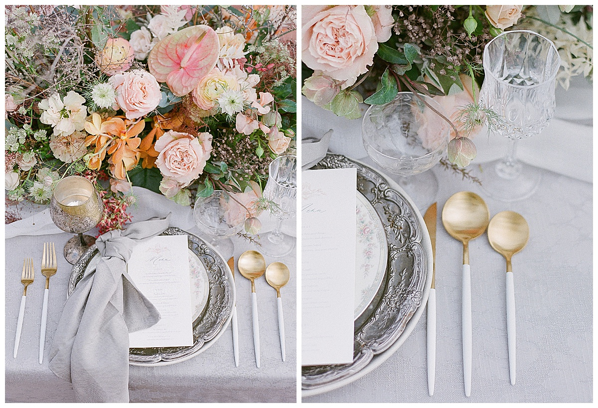 plate flowers and cutlery
