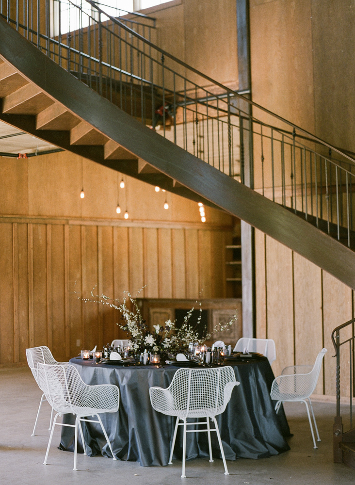 The Barn at green valley black table setting