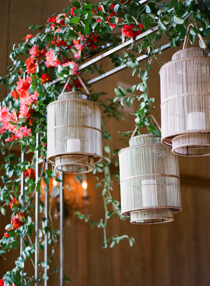 Chinese lanterns with red flowers