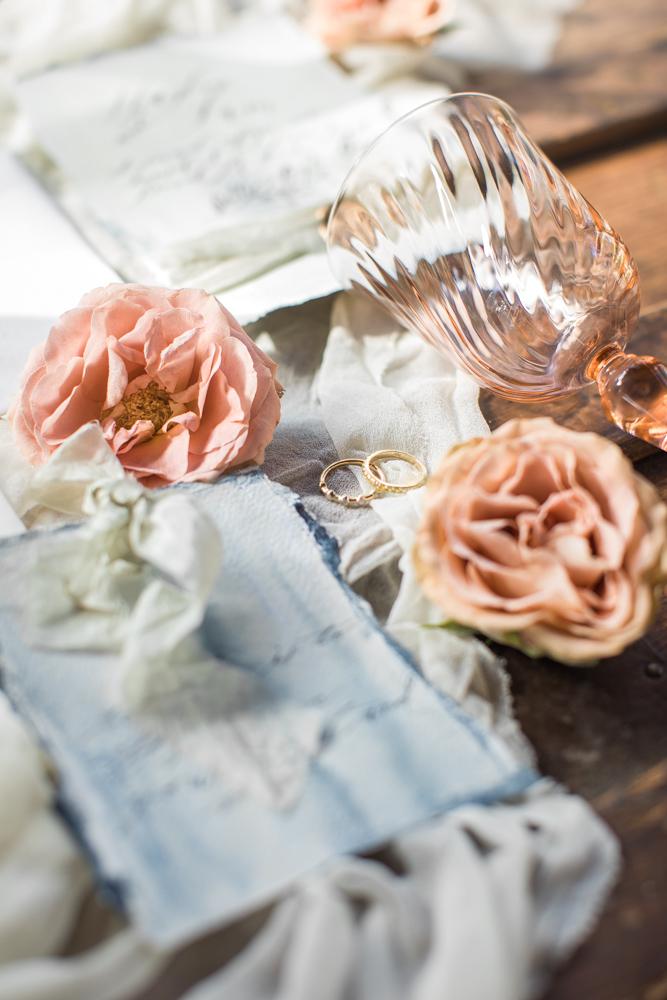wedding invitations with coral floral petals