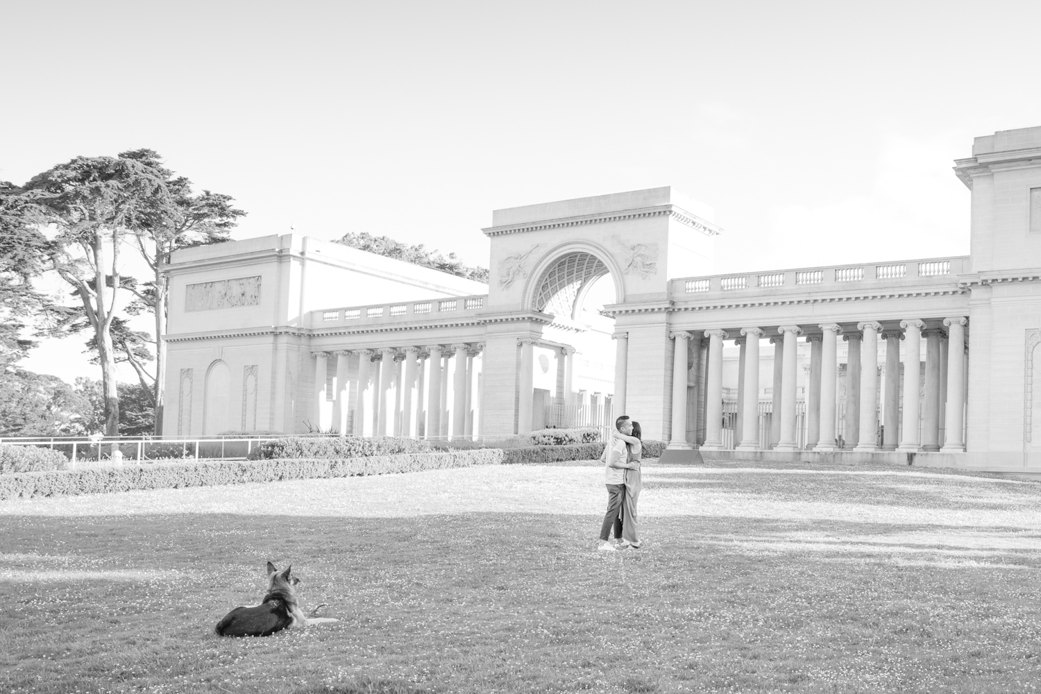 Legion of honor with couple dancing and their dog