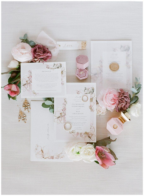 Gorgeous Blush and burgundy wedding invitation