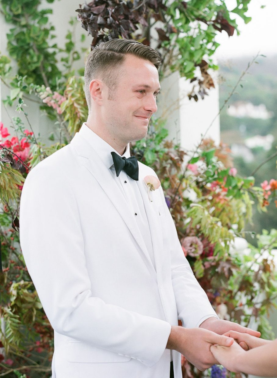 Groom crying when sees his bride