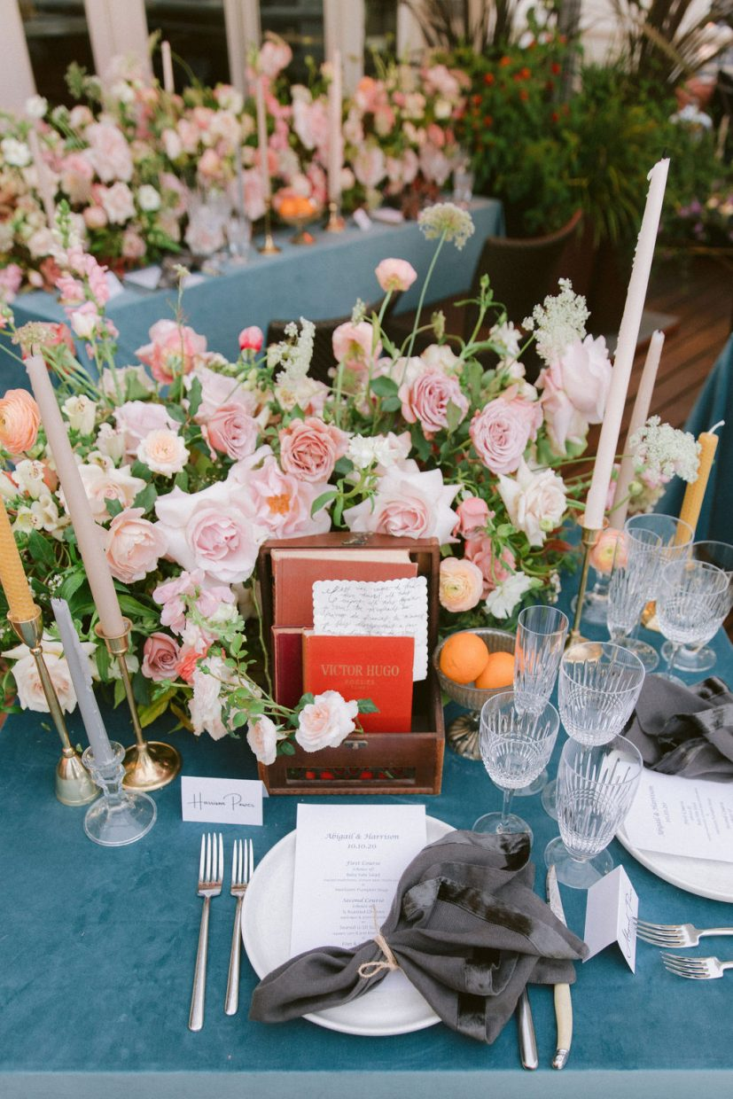 gorgeous table florals at the Claremont Wedding